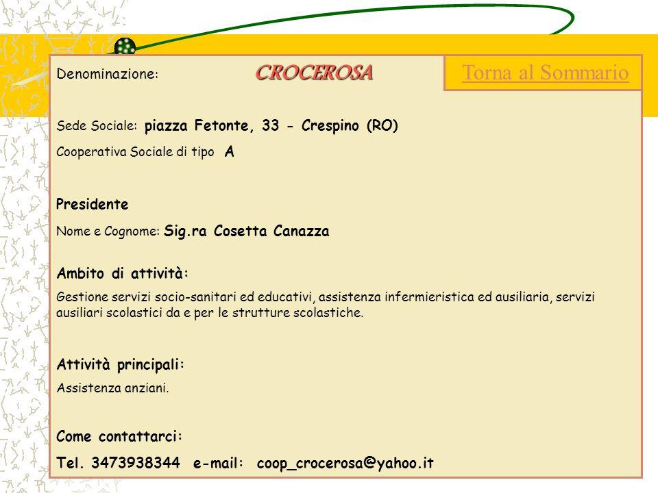 CROCEROSA Denominazione : CROCEROSA Sede Sociale: piazza Fetonte, 33 - Crespino (RO) Cooperativa Sociale di tipo A Presidente Nome e Cognome: Sig.ra C