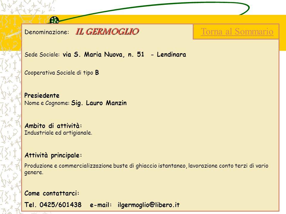 IL GERMOGLIO Denominazione: IL GERMOGLIO Sede Sociale: via S. Maria Nuova, n. 51 - Lendinara Cooperativa Sociale di tipo B Presiedente Nome e Cognome:
