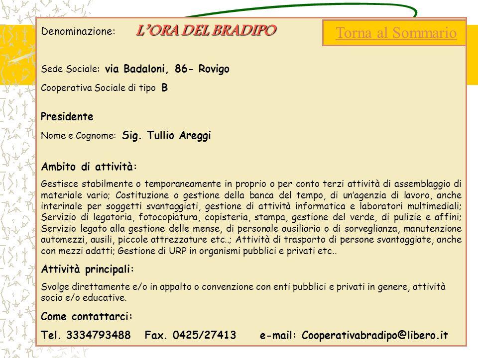 LORA DEL BRADIPO Denominazione: LORA DEL BRADIPO Sede Sociale: via Badaloni, 86- Rovigo Cooperativa Sociale di tipo B Presidente Nome e Cognome: Sig.