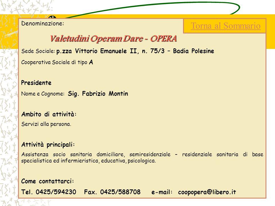 Denominazione: Valetudini Operam Dare - OPERA Sede Sociale: p.zza Vittorio Emanuele II, n. 75/3 – Badia Polesine Cooperativa Sociale di tipo A Preside
