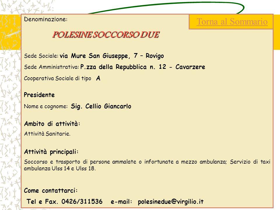 Denominazione : POLESINE SOCCORSO DUE Sede Sociale: via Mure San Giuseppe, 7 – Rovigo Sede Amministrativa: P.zza della Repubblica n. 12 - Cavarzere Co