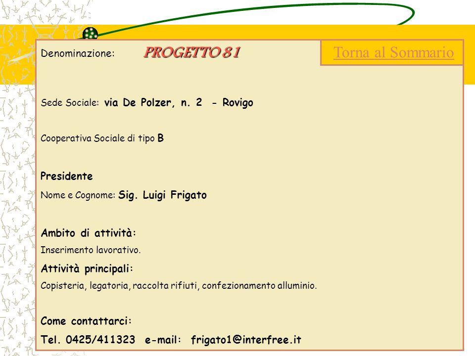 PROGETTO 81 Denominazione: PROGETTO 81 Sede Sociale: via De Polzer, n. 2 - Rovigo Cooperativa Sociale di tipo B Presidente Nome e Cognome: Sig. Luigi