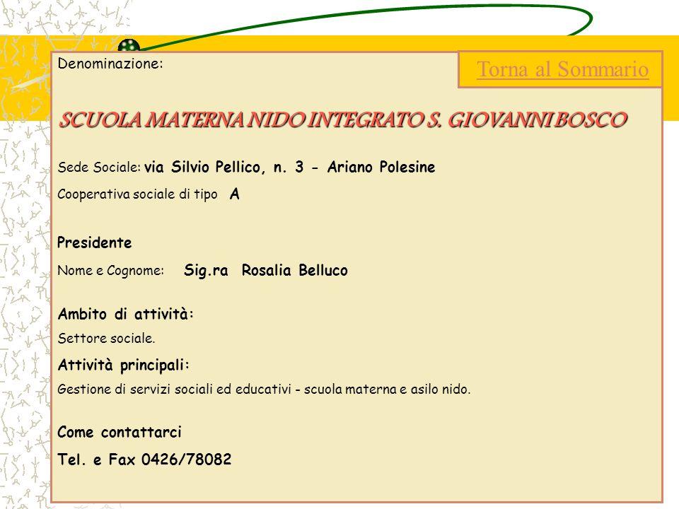 Denominazione: SCUOLA MATERNA NIDO INTEGRATO S. GIOVANNI BOSCO Sede Sociale: via Silvio Pellico, n. 3 - Ariano Polesine Cooperativa sociale di tipo A