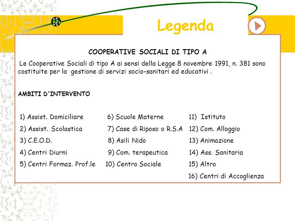COOPERATIVE SOCIALI DI TIPO A Le Cooperative Sociali di tipo A ai sensi della Legge 8 novembre 1991, n. 381 sono costituite per la gestione di servizi