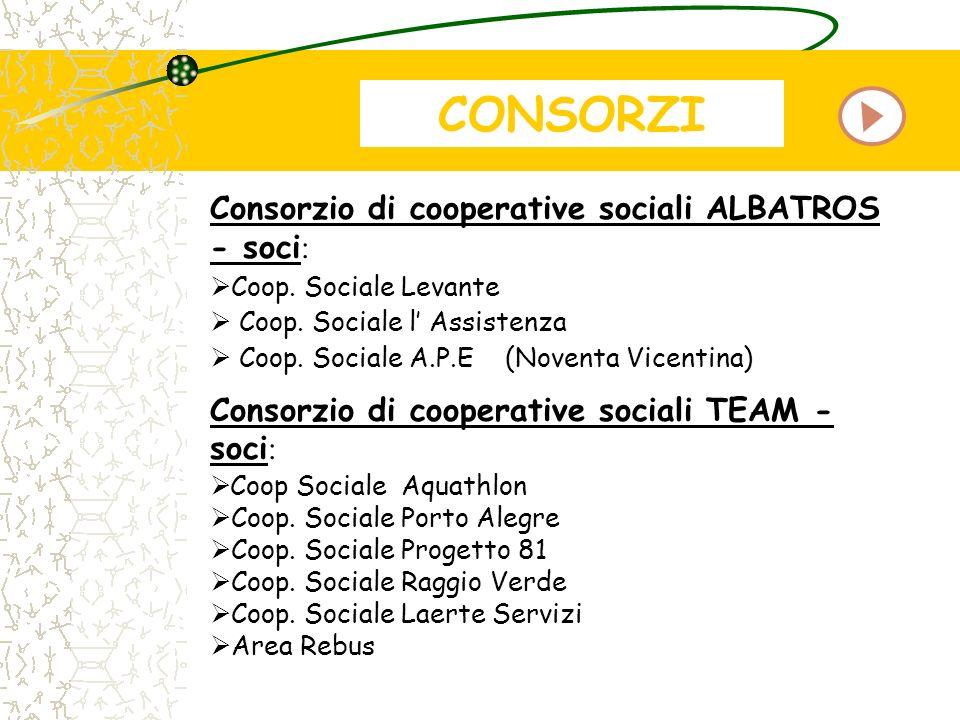 CONSORZI Consorzio di cooperative sociali ALBATROS - soci : Coop. Sociale Levante Coop. Sociale l Assistenza Coop. Sociale A.P.E (Noventa Vicentina) C