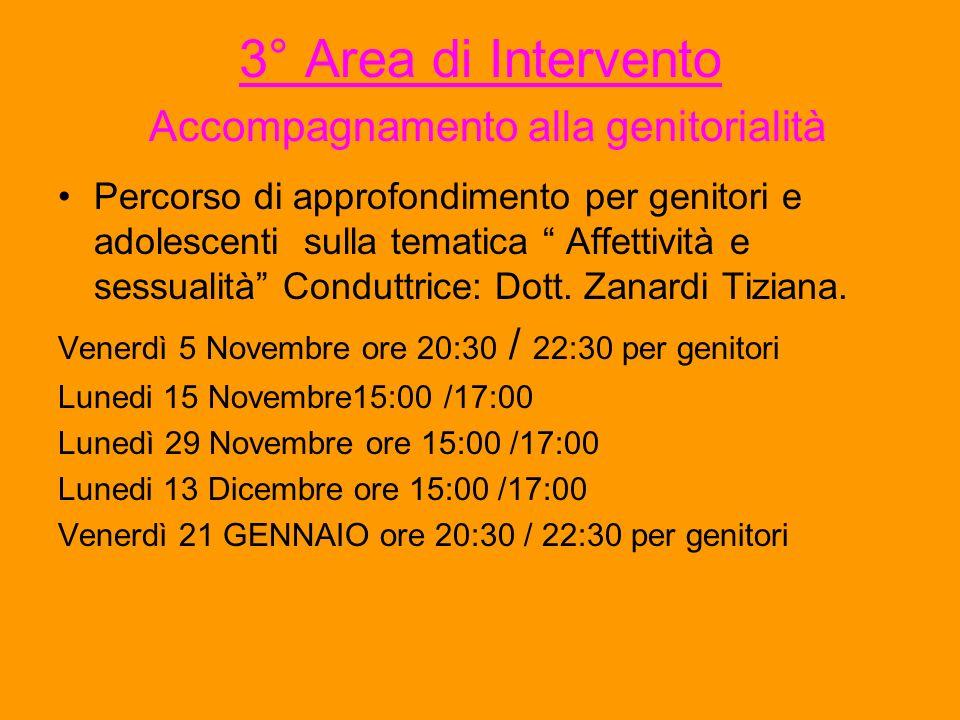 3° Area di Intervento Accompagnamento alla genitorialità Percorso di approfondimento per genitori e adolescenti sulla tematica Affettività e sessualit