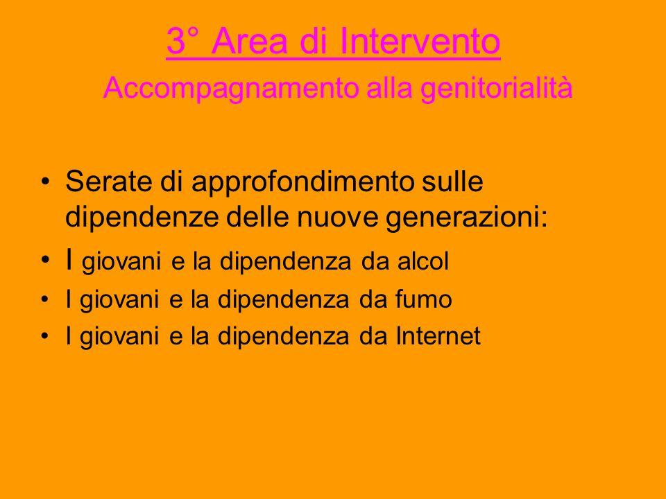 3° Area di Intervento Accompagnamento alla genitorialità Serate di approfondimento sulle dipendenze delle nuove generazioni: I giovani e la dipendenza