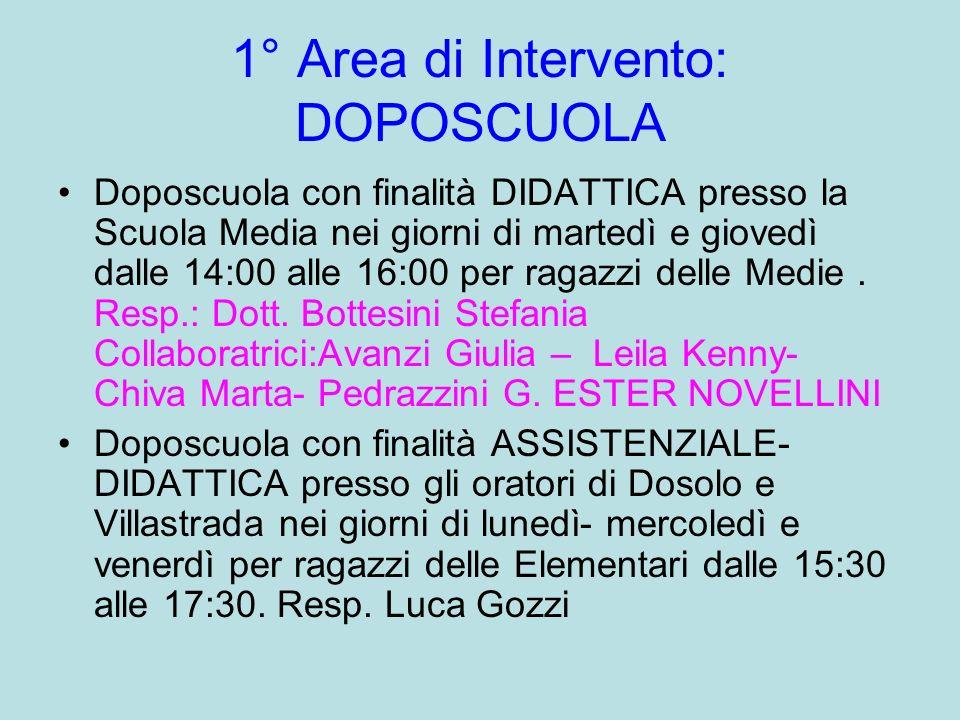 1° Area di Intervento: DOPOSCUOLA Doposcuola con finalità DIDATTICA presso la Scuola Media nei giorni di martedì e giovedì dalle 14:00 alle 16:00 per
