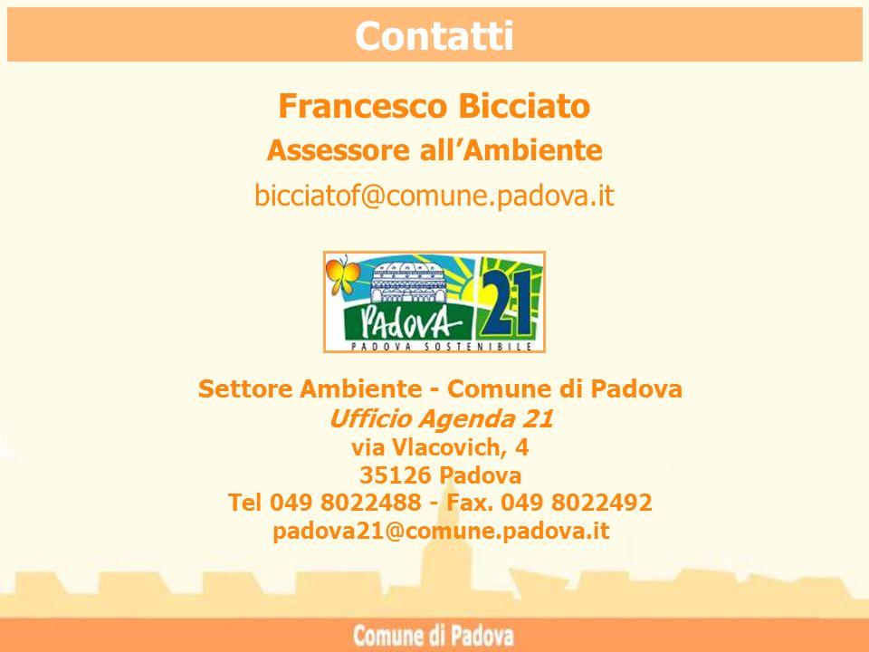 Contatti Francesco Bicciato Assessore allAmbiente bicciatof@comune.padova.it Settore Ambiente - Comune di Padova Ufficio Agenda 21 via Vlacovich, 4 35126 Padova Tel 049 8022488 - Fax.