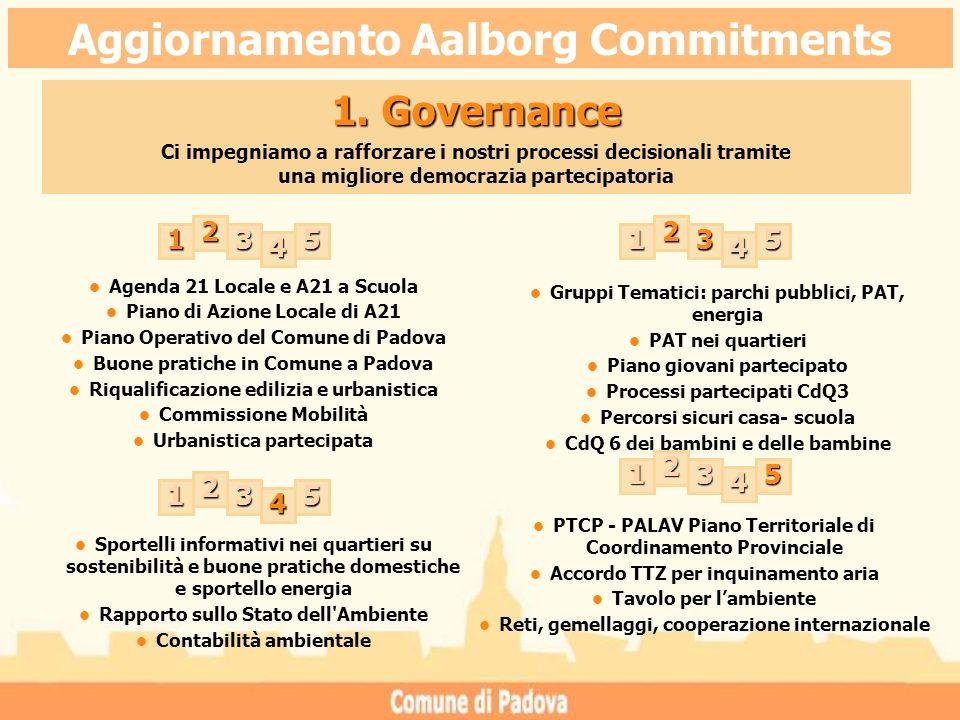 1. Governance Ci impegniamo a rafforzare i nostri processi decisionali tramite una migliore democrazia partecipatoria PTCP - PALAV Piano Territoriale