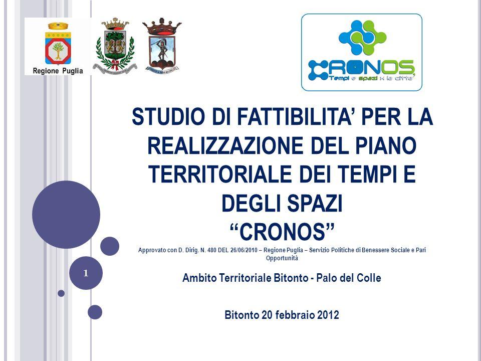 1 STUDIO DI FATTIBILITA PER LA REALIZZAZIONE DEL PIANO TERRITORIALE DEI TEMPI E DEGLI SPAZI CRONOS Approvato con D. Dirig. N. 480 DEL 26/06/2010 – Reg