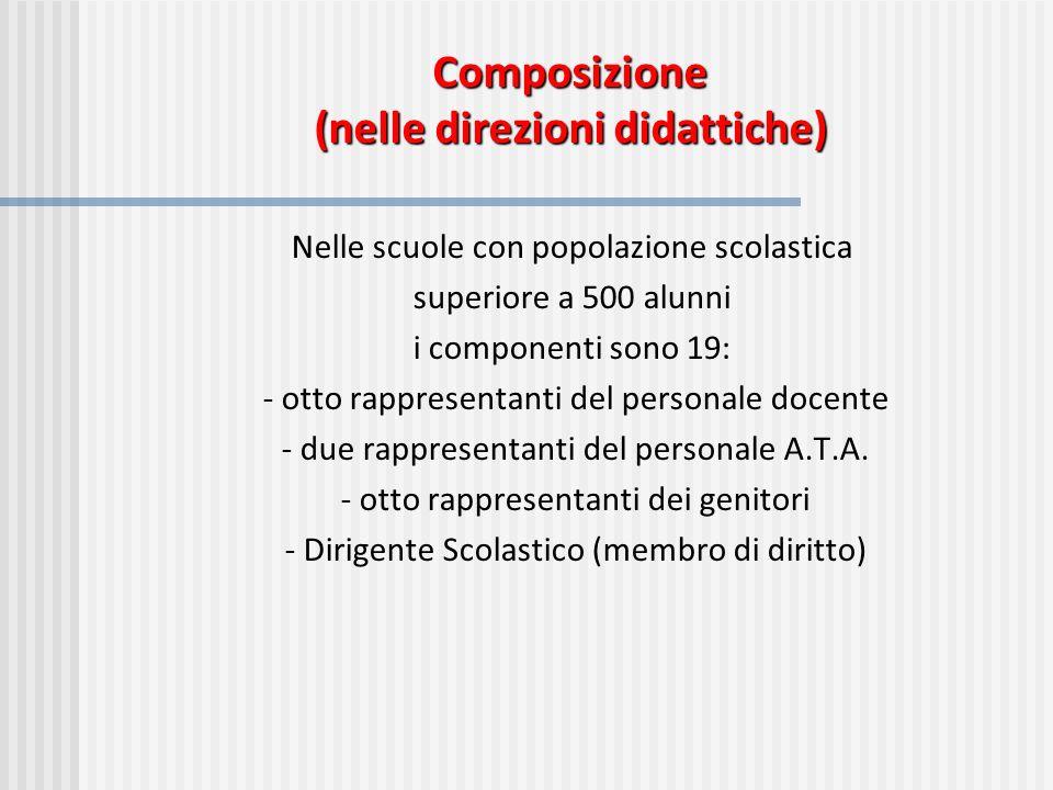 Composizione (nelle direzioni didattiche) Nelle scuole con popolazione scolastica superiore a 500 alunni i componenti sono 19: - otto rappresentanti d