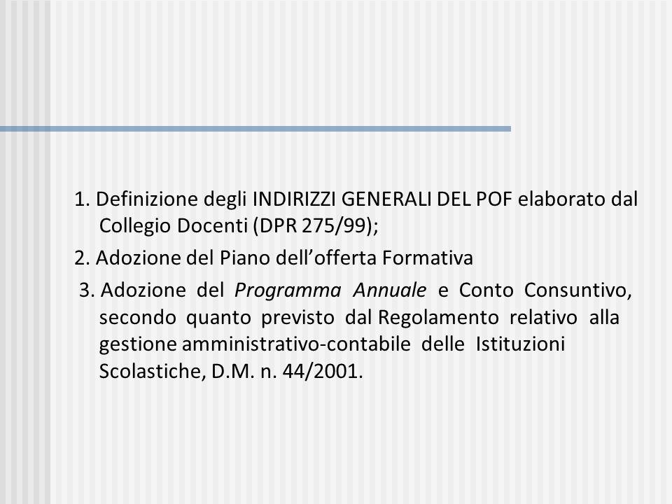 1. Definizione degli INDIRIZZI GENERALI DEL POF elaborato dal Collegio Docenti (DPR 275/99); 2. Adozione del Piano dellofferta Formativa 3. Adozione d