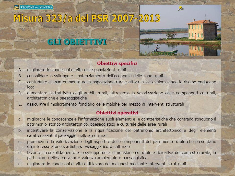Obiettivi specifici A.migliorare le condizioni di vita delle popolazioni rurali B.consolidare lo sviluppo e il potenziamento delleconomia delle zone r