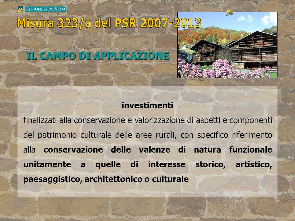 IL CAMPO DI APPLICAZIONE investimenti conservazione e valorizzazione valenzefunzionale storico, artistico, paesaggistico, architettonico o culturale f