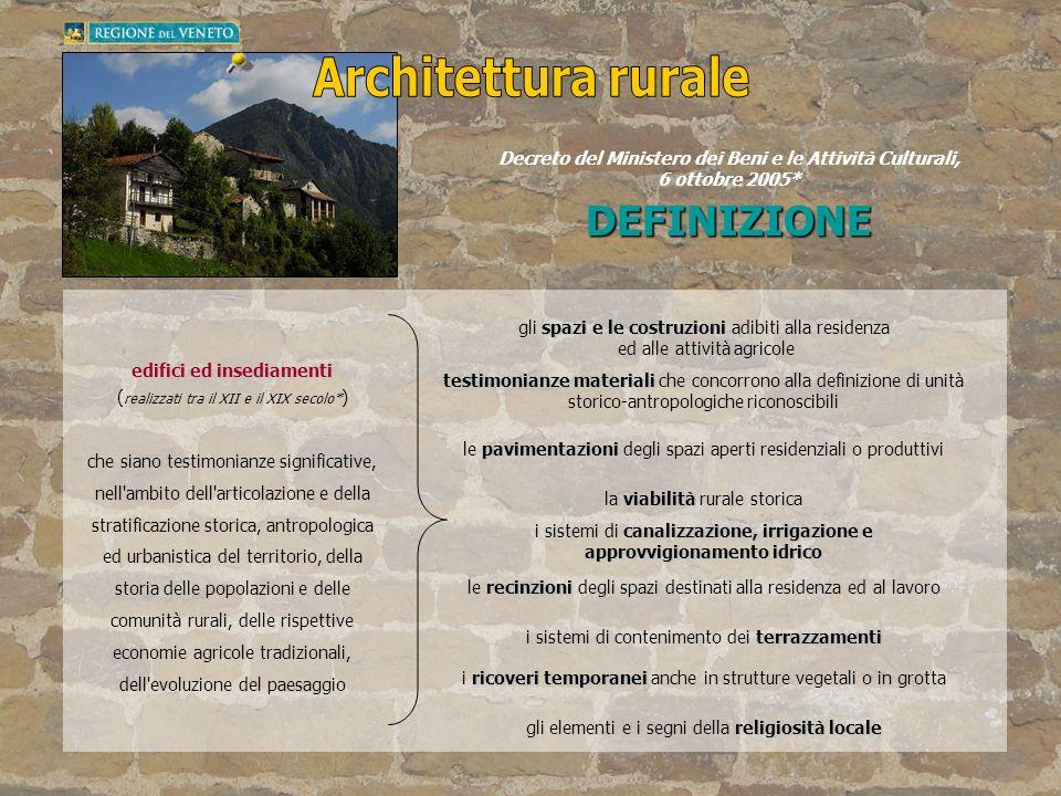 edifici ed insediamenti ( realizzati tra il XII e il XIX secolo* ) che siano testimonianze significative, nell'ambito dell'articolazione e della strat