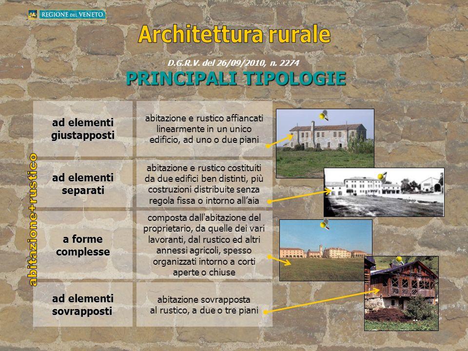 ad elementi giustapposti abitazione e rustico affiancati linearmente in un unico edificio, ad uno o due piani ad elementi separati abitazione e rustic