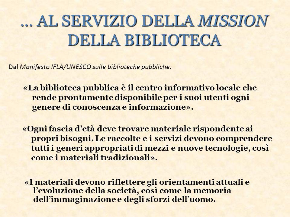 … AL SERVIZIO DELLA MISSION DELLA BIBLIOTECA «La biblioteca pubblica è il centro informativo locale che rende prontamente disponibile per i suoi utenti ogni genere di conoscenza e informazione».