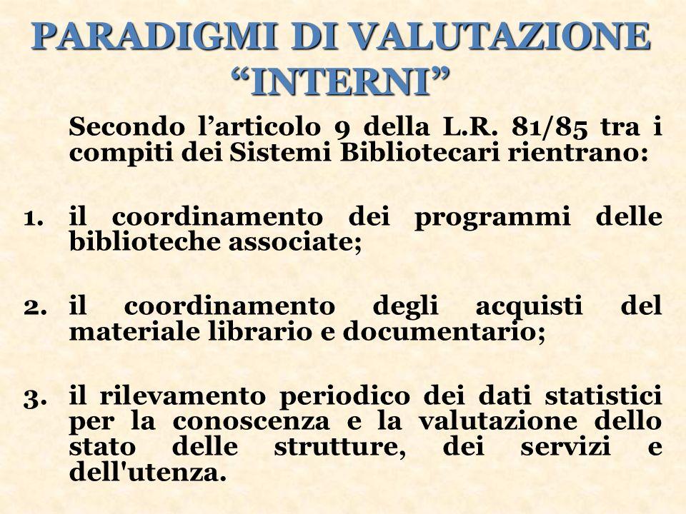 PARADIGMI DI VALUTAZIONE INTERNI Secondo larticolo 9 della L.R.