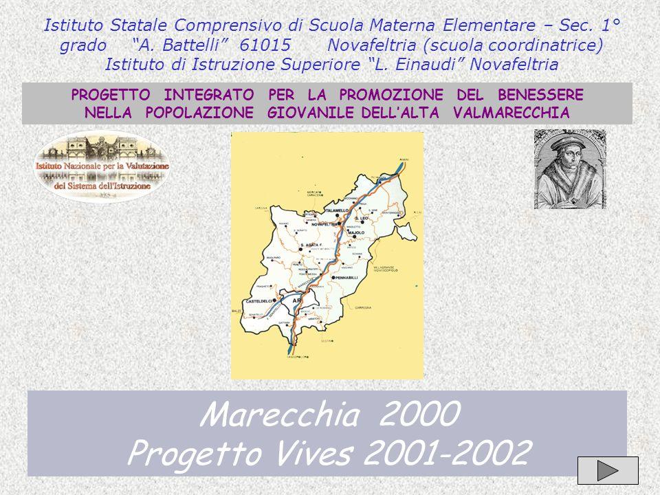 1 PROGETTO INTEGRATO PER LA PROMOZIONE DEL BENESSERE NELLA POPOLAZIONE GIOVANILE DELLALTA VALMARECCHIA Marecchia 2000 Progetto Vives 2001-2002 Istitut