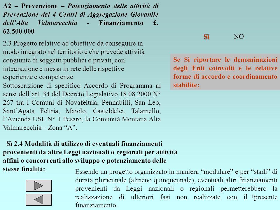 11 A2 – Prevenzione – Potenziamento delle attività di Prevenzione dei 4 Centri di Aggregazione Giovanile dellAlta Valmarecchia - Finanziamento £. 62.5