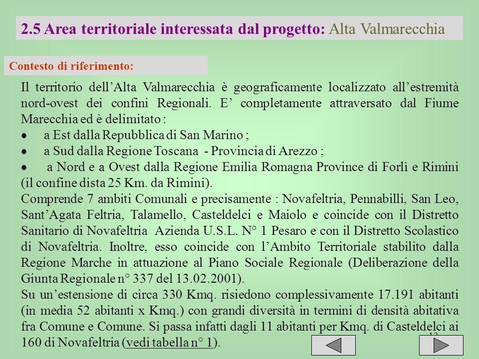 12 2.5 Area territoriale interessata dal progetto: Alta Valmarecchia Contesto di riferimento: Il territorio dellAlta Valmarecchia è geograficamente lo