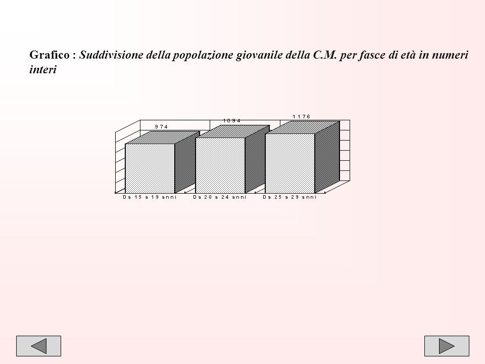 21 Grafico : Suddivisione della popolazione giovanile della C.M. per fasce di età in numeri interi