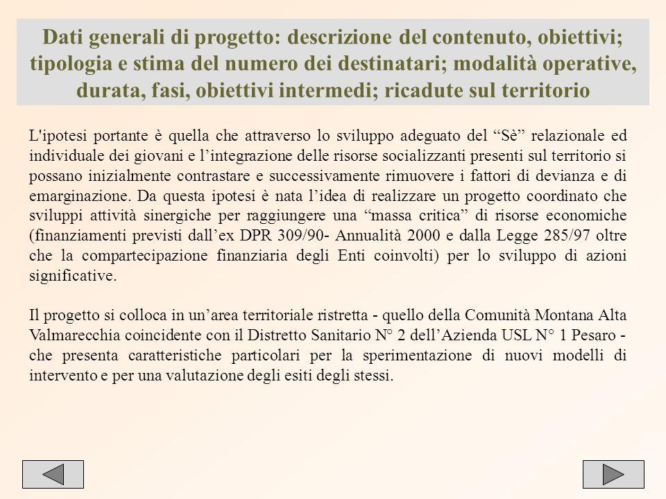 23 Dati generali di progetto: descrizione del contenuto, obiettivi; tipologia e stima del numero dei destinatari; modalità operative, durata, fasi, ob