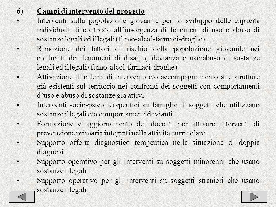 7 6)Campi di intervento del progetto Interventi sulla popolazione giovanile per lo sviluppo delle capacità individuali di contrasto allinsorgenza di f