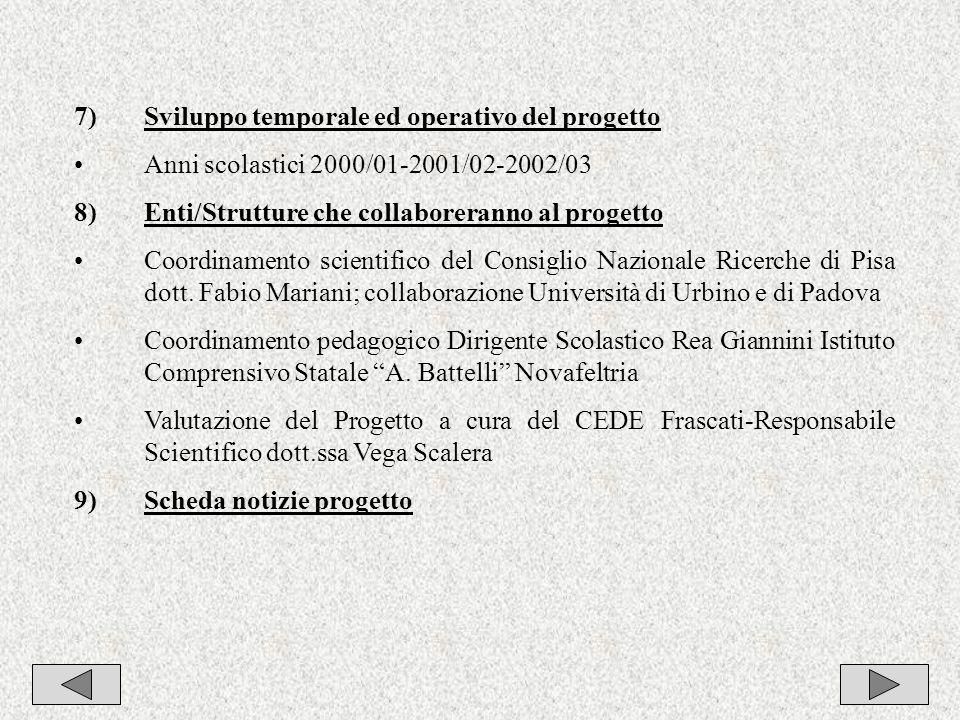 8 7)Sviluppo temporale ed operativo del progetto Anni scolastici 2000/01-2001/02-2002/03 8)Enti/Strutture che collaboreranno al progetto Coordinamento