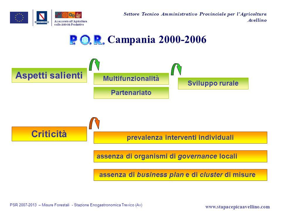 Campania 2000-2006 assenza di business plan e di cluster di misure Assessorato allAgricoltura e alle Attività Produttive Settore Tecnico Amministrativ