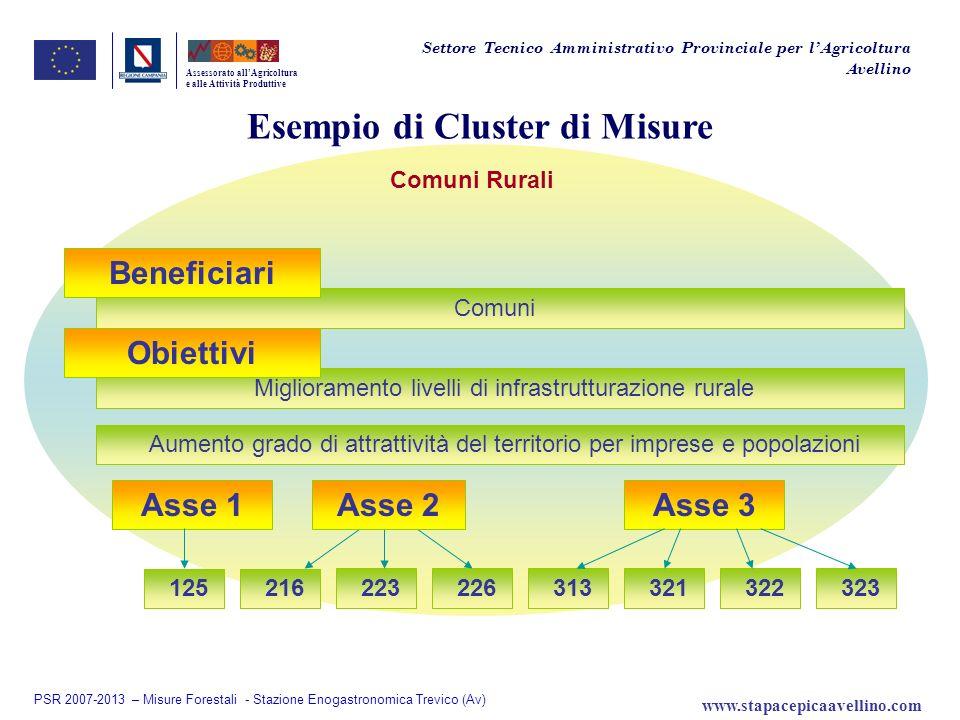Esempio di Cluster di Misure Assessorato allAgricoltura e alle Attività Produttive Comuni Rurali Asse 1 Miglioramento livelli di infrastrutturazione r