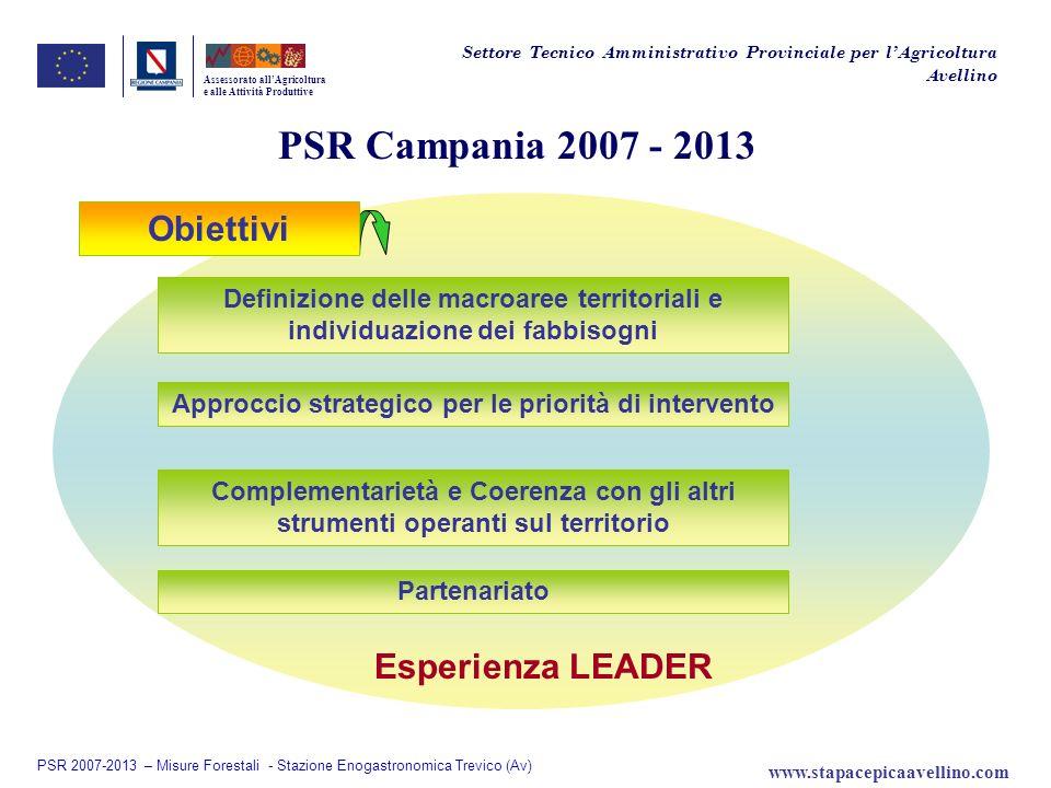 PSR Campania 2007 - 2013 Esperienza LEADER Assessorato allAgricoltura e alle Attività Produttive Approccio strategico per le priorità di intervento De
