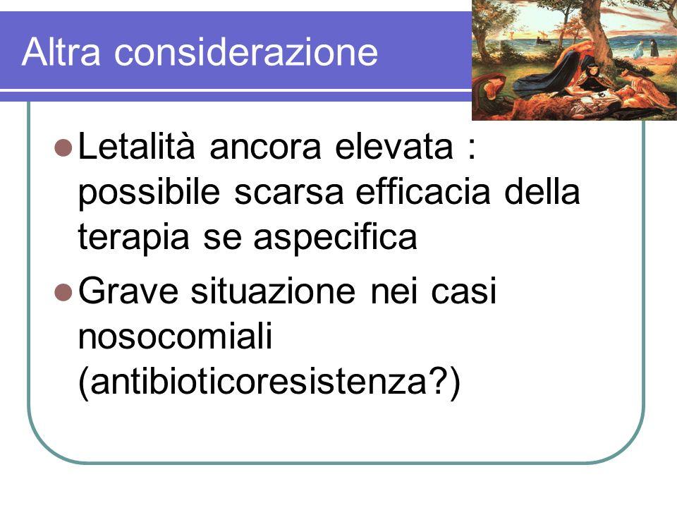 Altra considerazione Letalità ancora elevata : possibile scarsa efficacia della terapia se aspecifica Grave situazione nei casi nosocomiali (antibioti