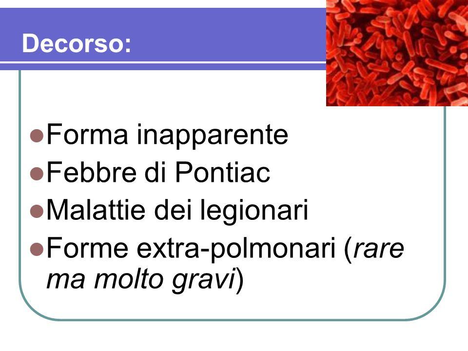 Forma inapparente Febbre di Pontiac Malattie dei legionari Forme extra-polmonari (rare ma molto gravi) Decorso: