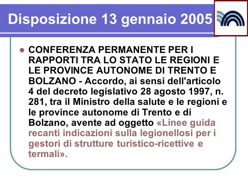 Disposizione 13 gennaio 2005 CONFERENZA PERMANENTE PER I RAPPORTI TRA LO STATO LE REGIONI E LE PROVINCE AUTONOME DI TRENTO E BOLZANO - Accordo, ai sen