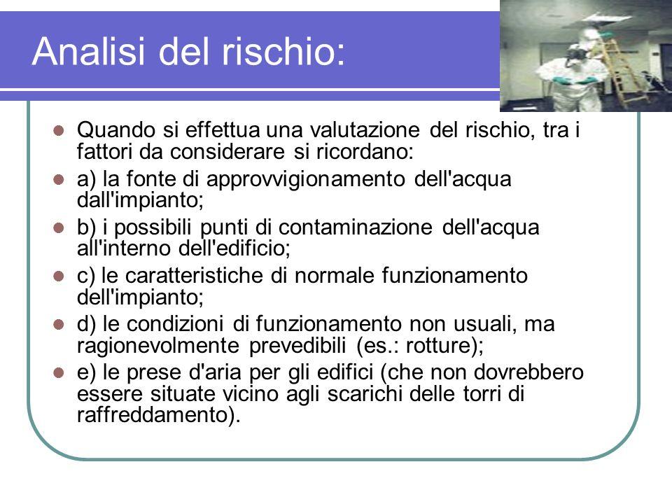 Analisi del rischio: Quando si effettua una valutazione del rischio, tra i fattori da considerare si ricordano: a) la fonte di approvvigionamento dell