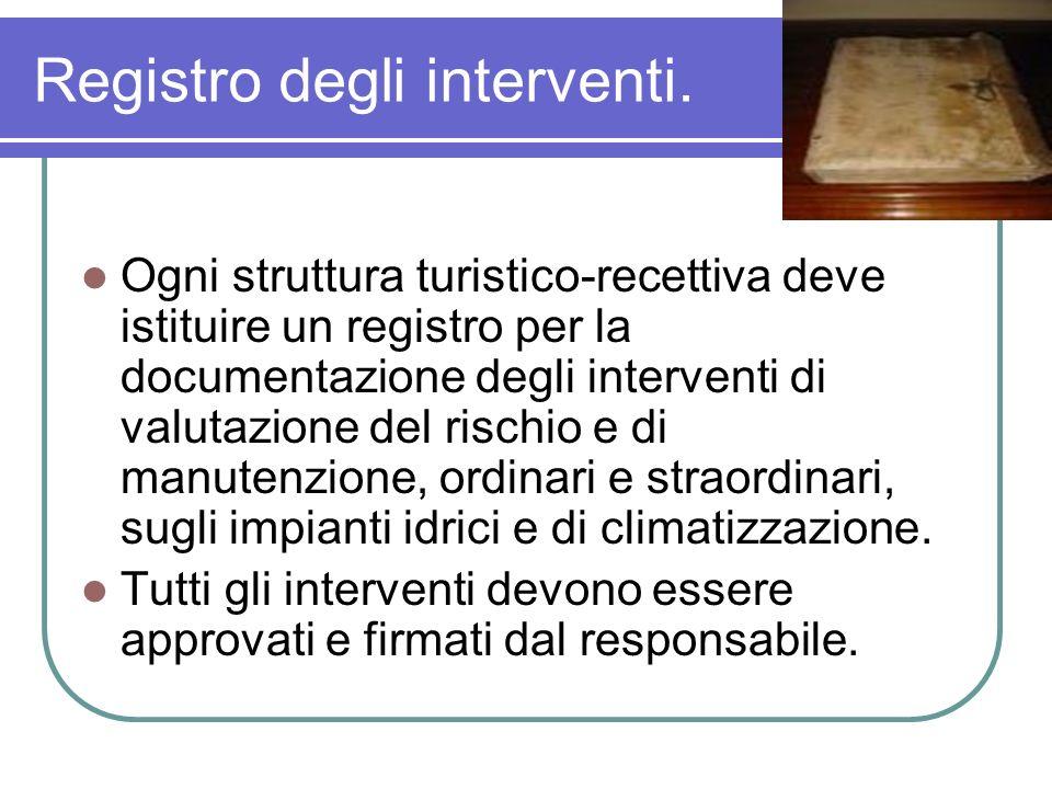 Registro degli interventi. Ogni struttura turistico-recettiva deve istituire un registro per la documentazione degli interventi di valutazione del ris