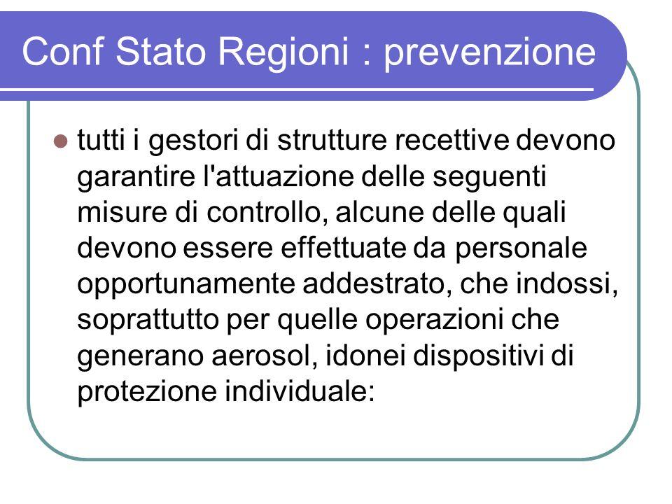 Conf Stato Regioni : prevenzione tutti i gestori di strutture recettive devono garantire l'attuazione delle seguenti misure di controllo, alcune delle