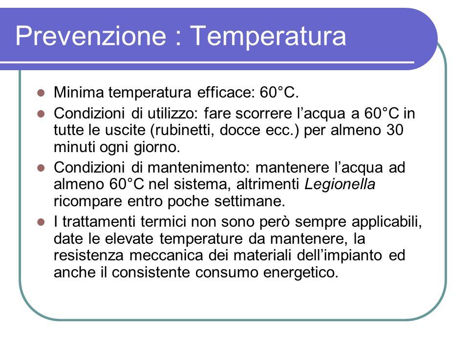 Prevenzione : Temperatura Minima temperatura efficace: 60°C. Condizioni di utilizzo: fare scorrere lacqua a 60°C in tutte le uscite (rubinetti, docce