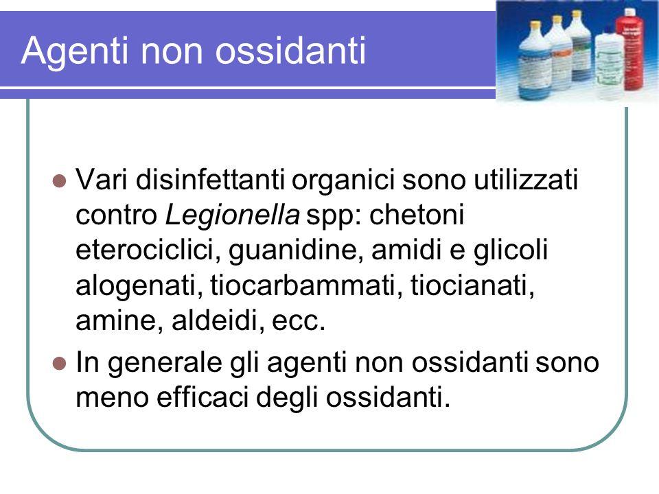 Agenti non ossidanti Vari disinfettanti organici sono utilizzati contro Legionella spp: chetoni eterociclici, guanidine, amidi e glicoli alogenati, ti