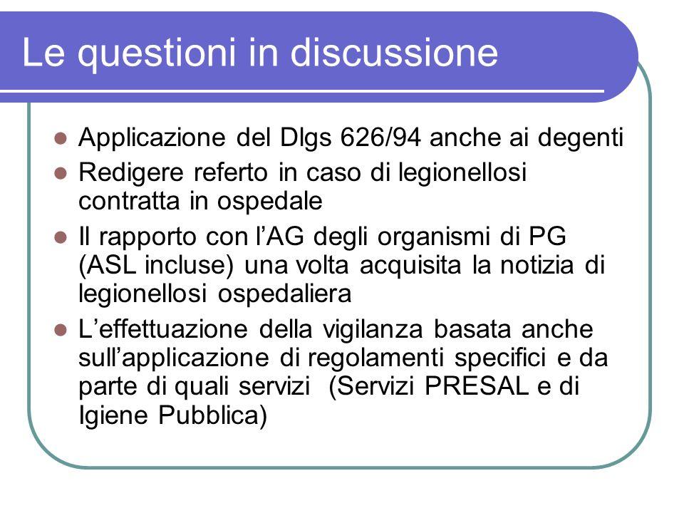 Le questioni in discussione Applicazione del Dlgs 626/94 anche ai degenti Redigere referto in caso di legionellosi contratta in ospedale Il rapporto c