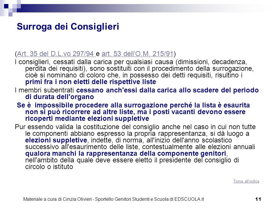 11 Surroga dei Consiglieri (Art. 35 del D.L.vo 297/94 e art. 53 dellO.M. 215/91)Art. 35 del D.L.vo 297/94 art. 53 dellO.M. 215/91 I consiglieri, cessa