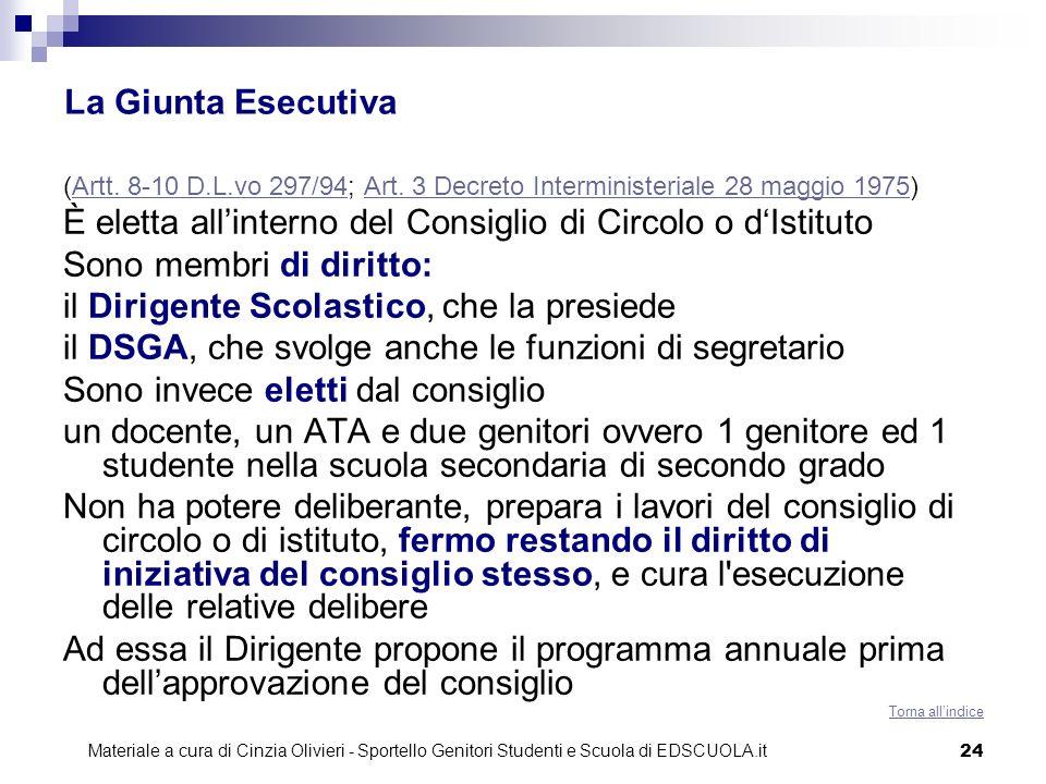 24 La Giunta Esecutiva (Artt. 8-10 D.L.vo 297/94; Art. 3 Decreto Interministeriale 28 maggio 1975)Artt. 8-10 D.L.vo 297/94Art. 3 Decreto Interminister