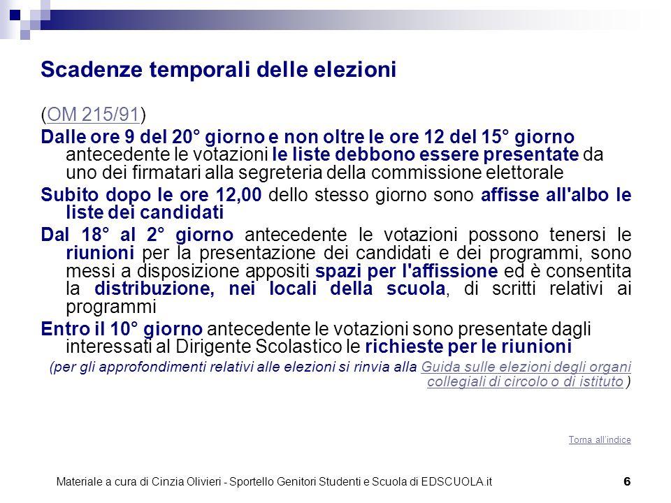 6 Scadenze temporali delle elezioni (OM 215/91)OM 215/91 Dalle ore 9 del 20° giorno e non oltre le ore 12 del 15° giorno antecedente le votazioni le l