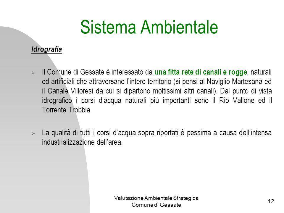 Valutazione Ambientale Strategica Comune di Gessate 12 Sistema Ambientale Idrografia Il Comune di Gessate è interessato da una fitta rete di canali e