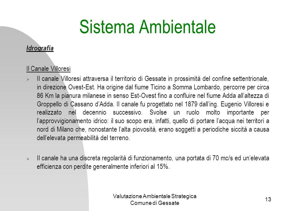 Valutazione Ambientale Strategica Comune di Gessate 13 Sistema Ambientale Idrografia Il Canale Villoresi Il canale Villoresi attraversa il territorio