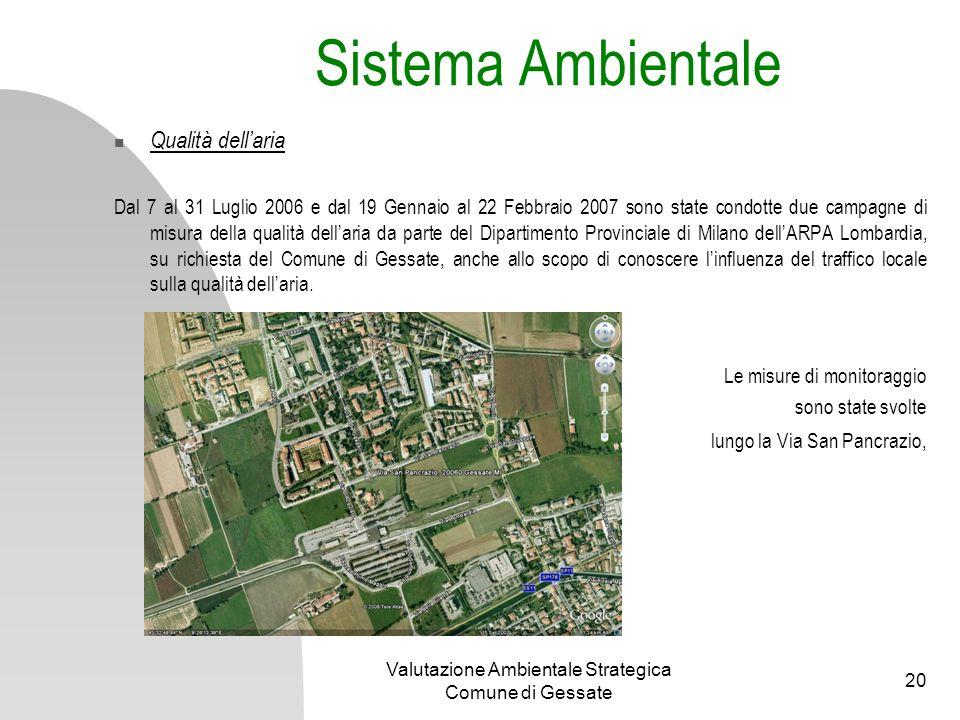 Valutazione Ambientale Strategica Comune di Gessate 20 Qualità dellaria Dal 7 al 31 Luglio 2006 e dal 19 Gennaio al 22 Febbraio 2007 sono state condot