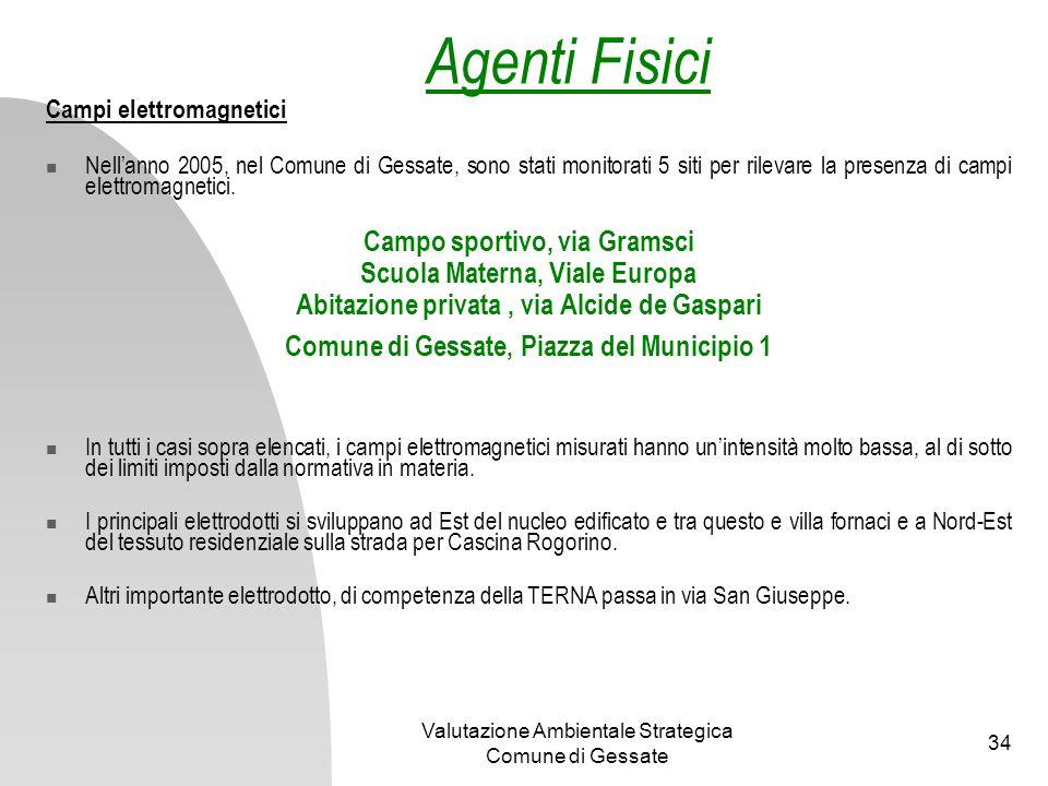 Valutazione Ambientale Strategica Comune di Gessate 34 Campi elettromagnetici Nellanno 2005, nel Comune di Gessate, sono stati monitorati 5 siti per r