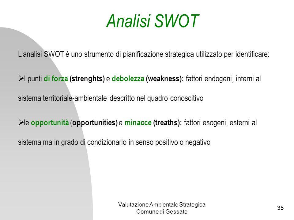 Valutazione Ambientale Strategica Comune di Gessate 35 Analisi SWOT Lanalisi SWOT è uno strumento di pianificazione strategica utilizzato per identifi